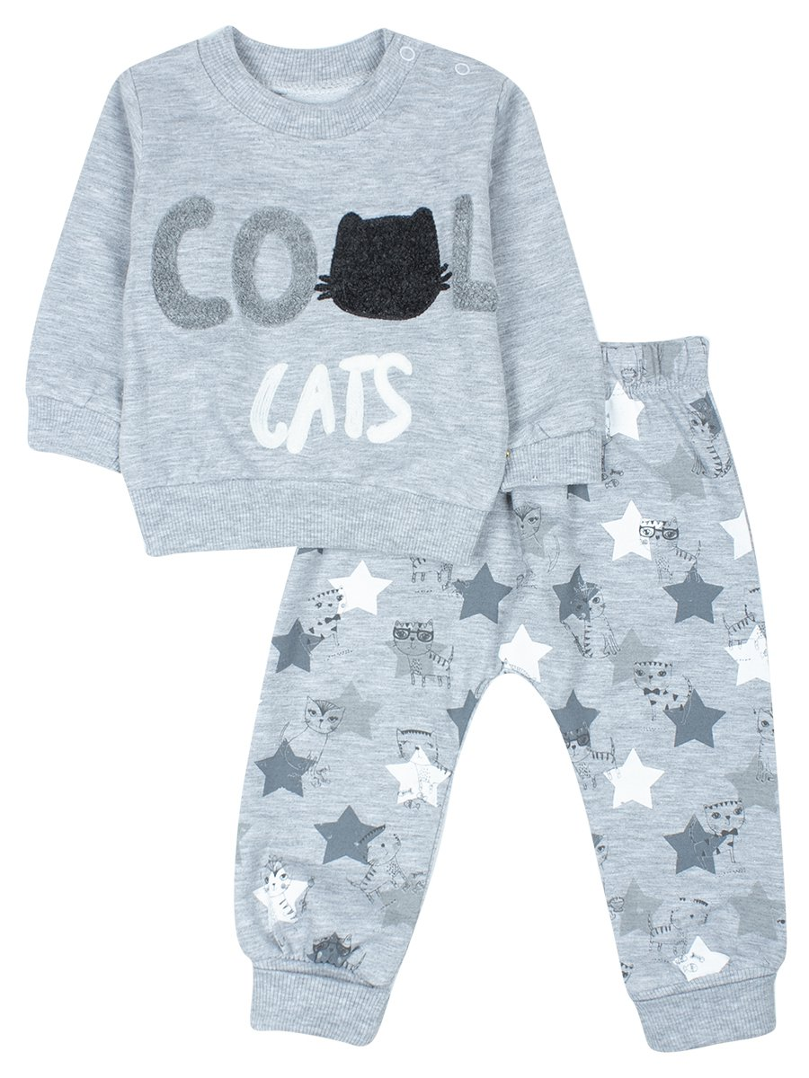 Комплект для мальчика: кофточка и штанишки., цвет: серый меланж