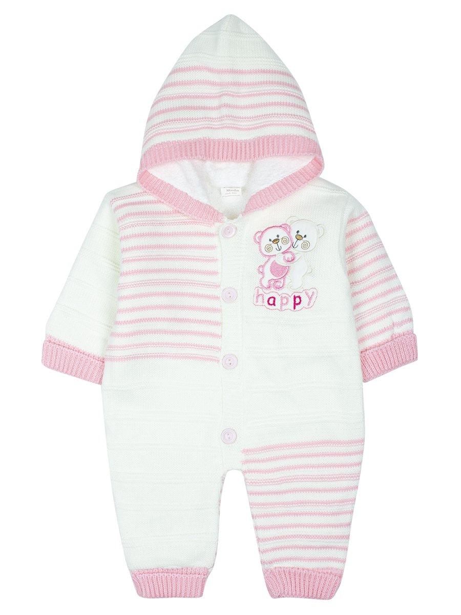 Комбинезон вязаный на махровой подкладке детский, цвет: светло-розовый