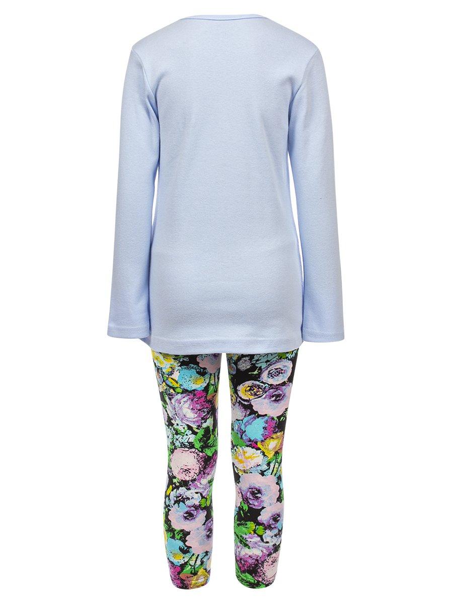 Комплект для девочки:лонгслив и леггинсы, цвет: голубой
