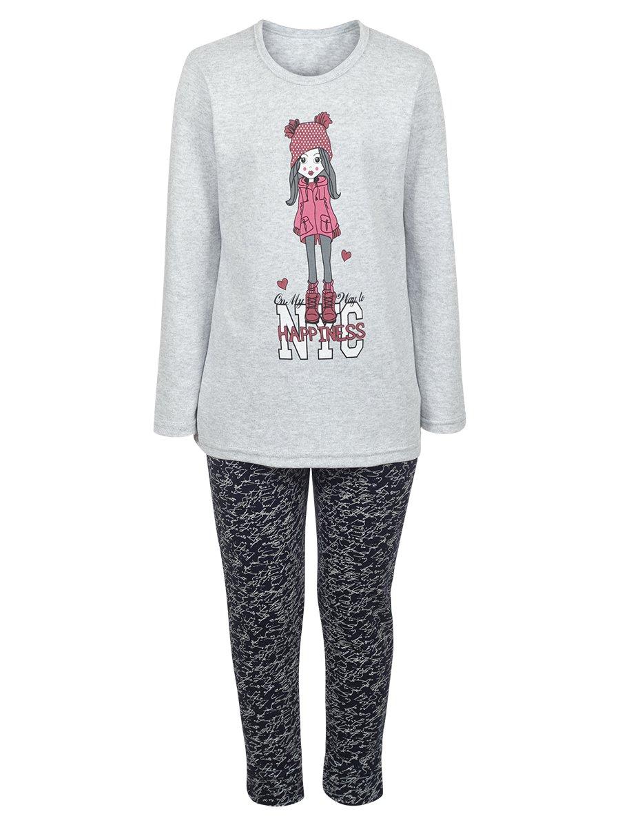 Комплект для девочки: лонгслив и леггинсы, цвет: серый меланж