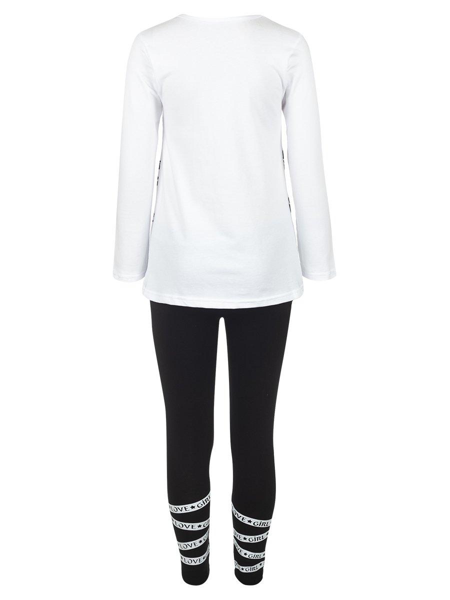 Комплект для девочки: лонгслив и леггинсы, цвет: белый
