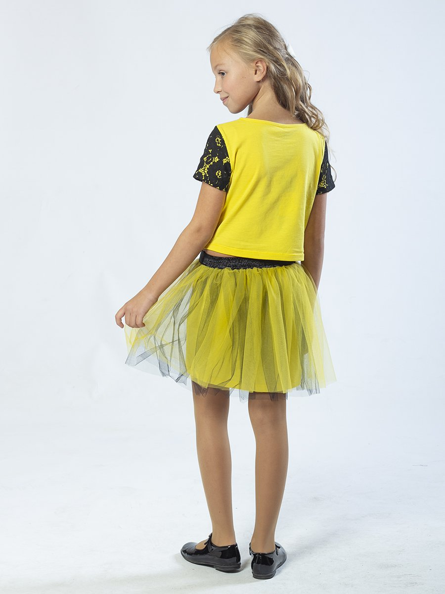 Комплект:блузка и юбка прямого силуэта, цвет: желтый