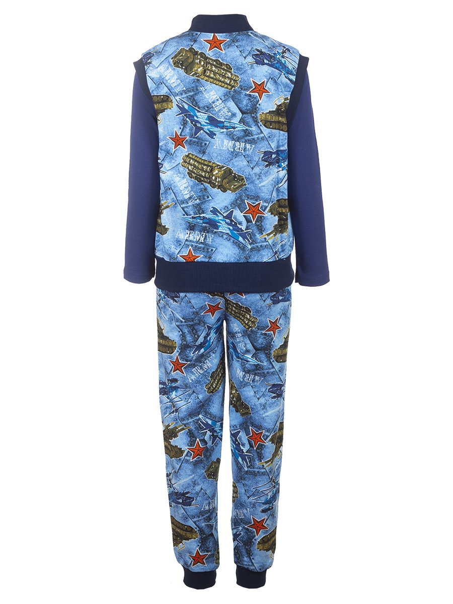 Комплект для мальчика 3-х предметный: жилет, штаны лонгслив, цвет: синий