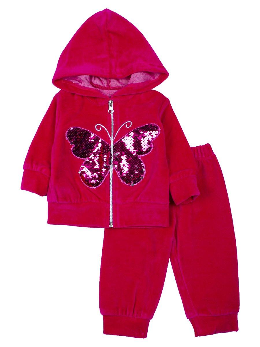 Комплект велюровый для девочки: толстовка на молнии с капюшоном и штанишки., цвет: малиновый