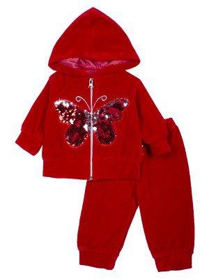 Комплект велюровый для девочки: толстовка на молнии с капюшоном и штанишки.