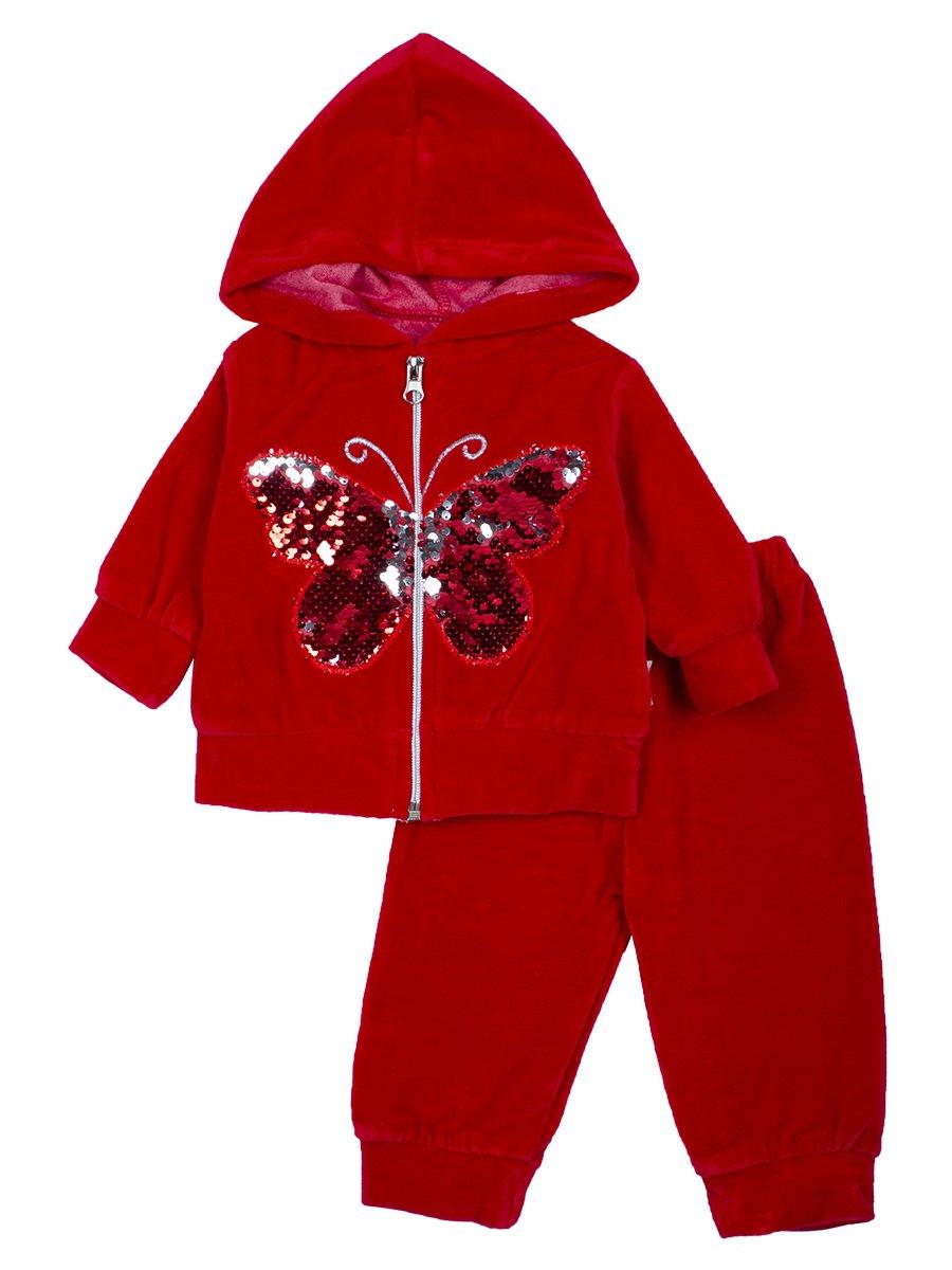 Комплект велюровый для девочки: толстовка на молнии с капюшоном и штанишки., цвет: красный