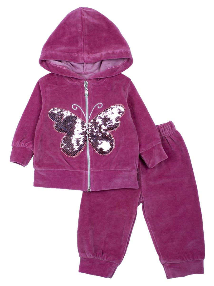 Комплект велюровый для девочки: толстовка на молнии с капюшоном и штанишки., цвет: брусничный