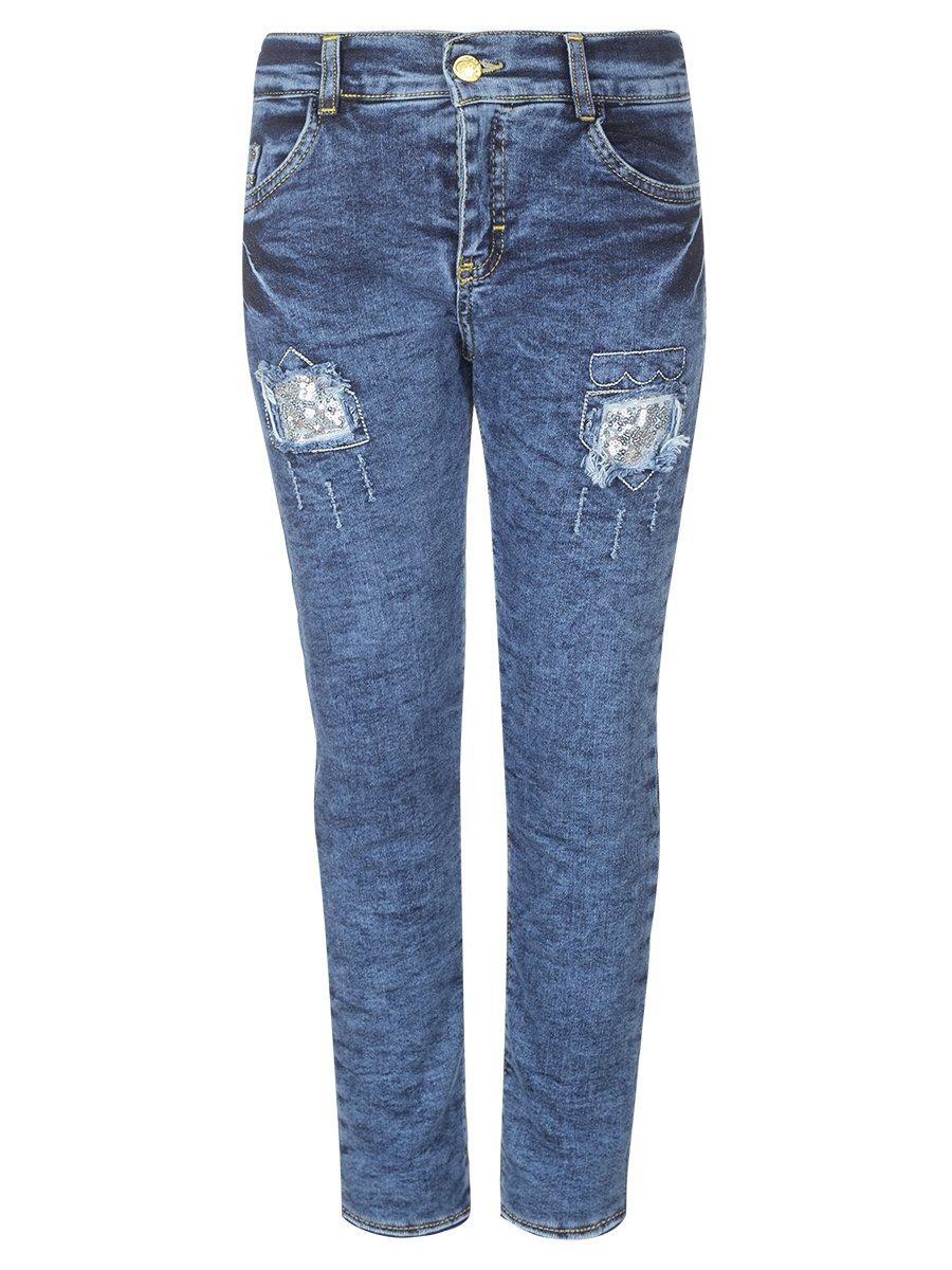 Брюки джинсовые на махровой подкладке для девочки, цвет: деним