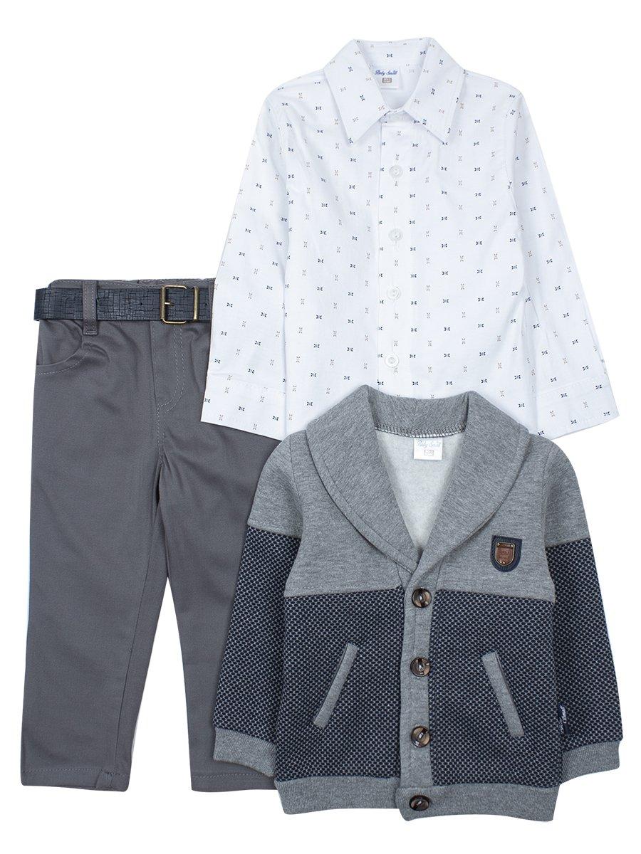 Комплект для мальчика: брюки с ремнем, рубашка ,кардиган с начесом, цвет: серый