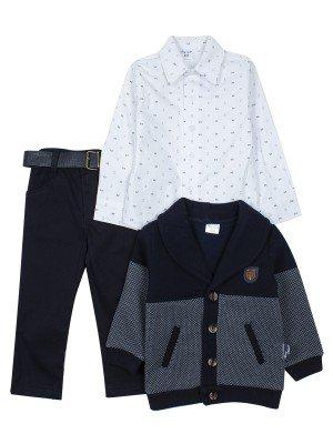 Комплект для мальчика: брюки с ремнем, рубашка ,кардиган с начесом