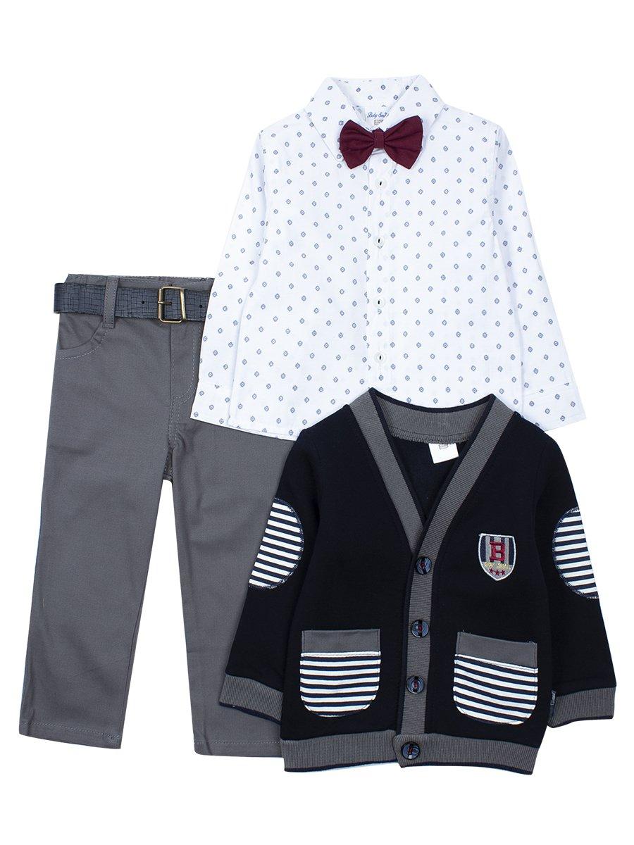 Комплект для мальчика: брюки с ремнем, рубашка, бабочка, кардиган с начесом, цвет: темно-синий