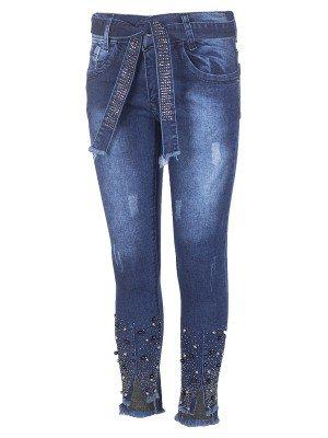 Брюки джинсовые для девочки,отделка бусины и стразы