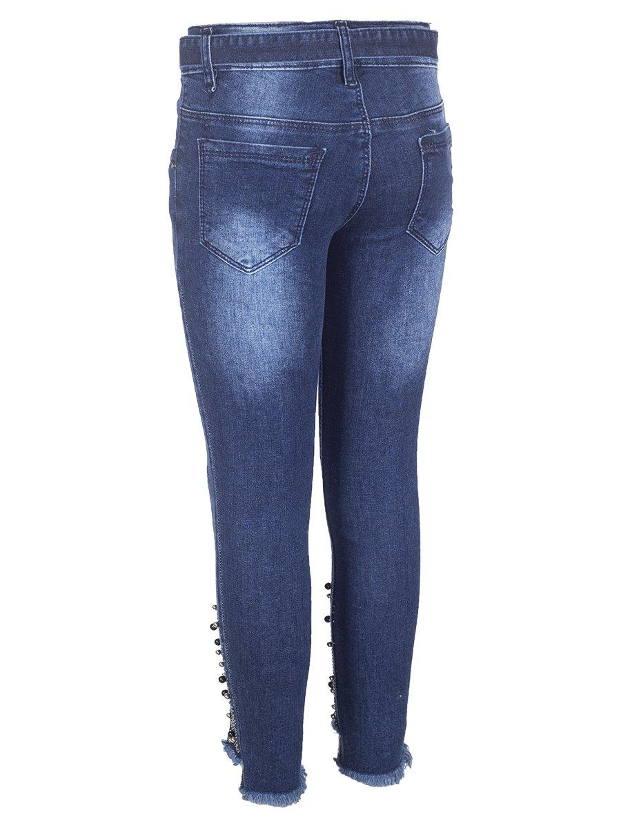 Брюки джинсовые для девочки,отделка бусины и стразы, цвет: деним