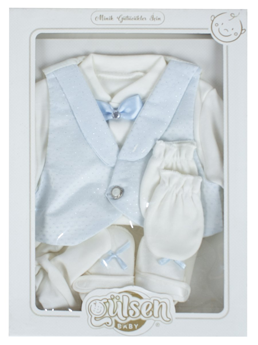 Комплект для мальчика в коробке: кофточка, жилет, ползунки, шапочка, царапки, пинетки, цвет: голубой