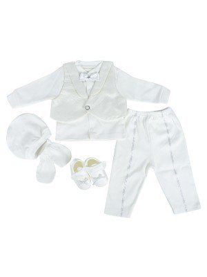 Комплект для мальчика в коробке: кофточка, жилет, ползунки, шапочка, царапки, пинетки