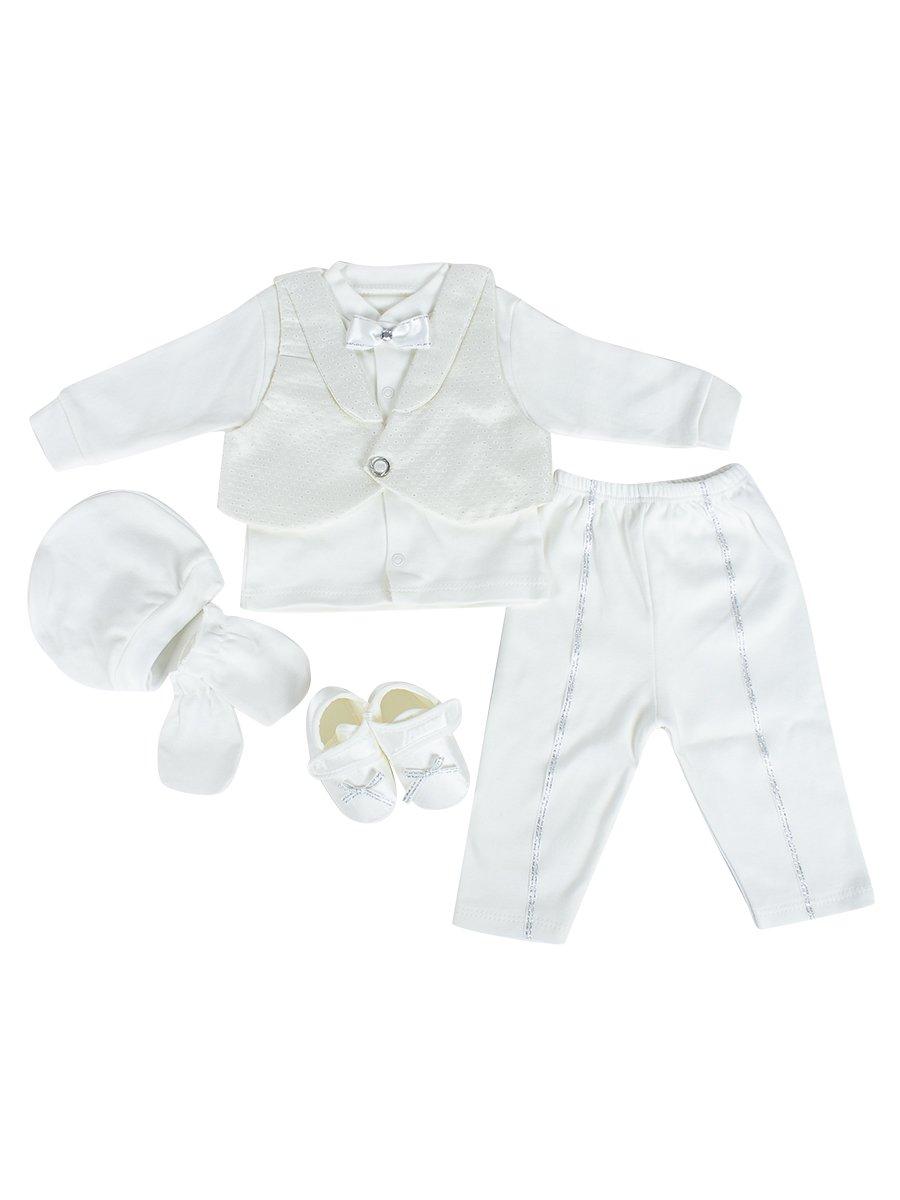 Комплект для мальчика в коробке: кофточка, жилет, ползунки, шапочка, царапки, пинетки, цвет: молочный