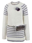 Джемпер вязаный для девочки в комплекте с сумочкой