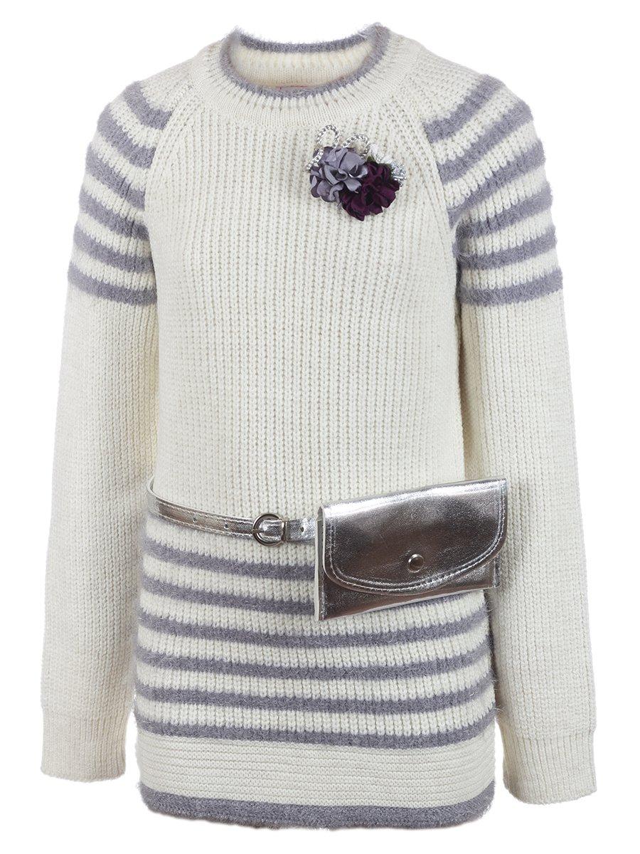 Джемпер вязаный для девочки в комплекте с сумочкой, цвет: молочный