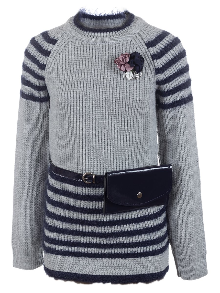 Джемпер вязаный для девочки в комплекте с сумочкой, цвет: серый