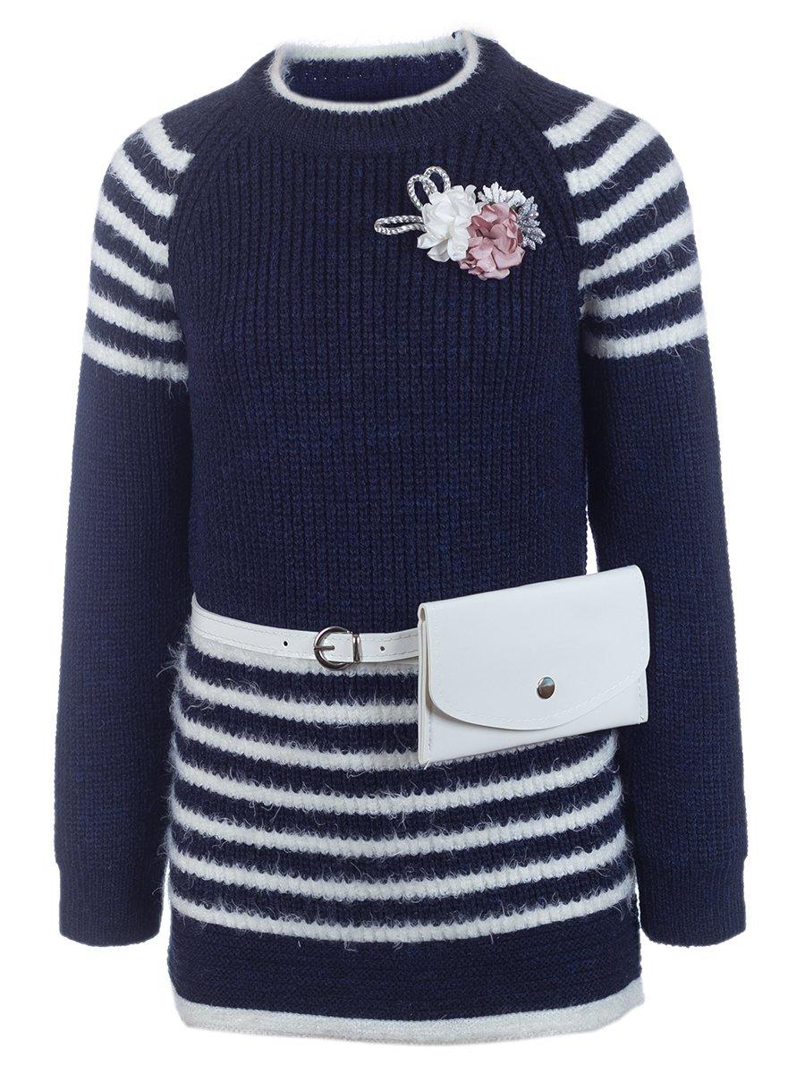 Джемпер вязаный для девочки в комплекте с сумочкой, цвет: темно-синий
