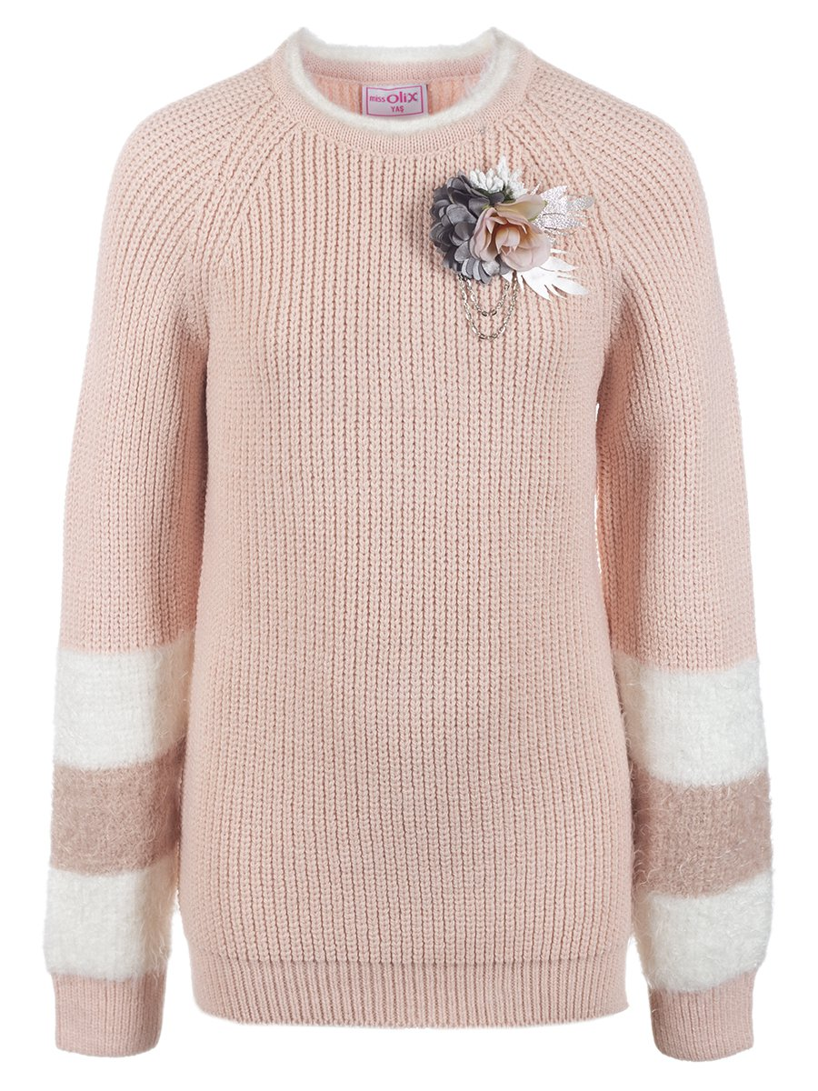 Джемпер вязаный для девочки, цвет: пудра