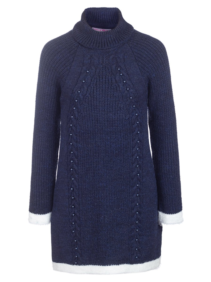 Джемпер вязаный для девочки, цвет: темно-синий