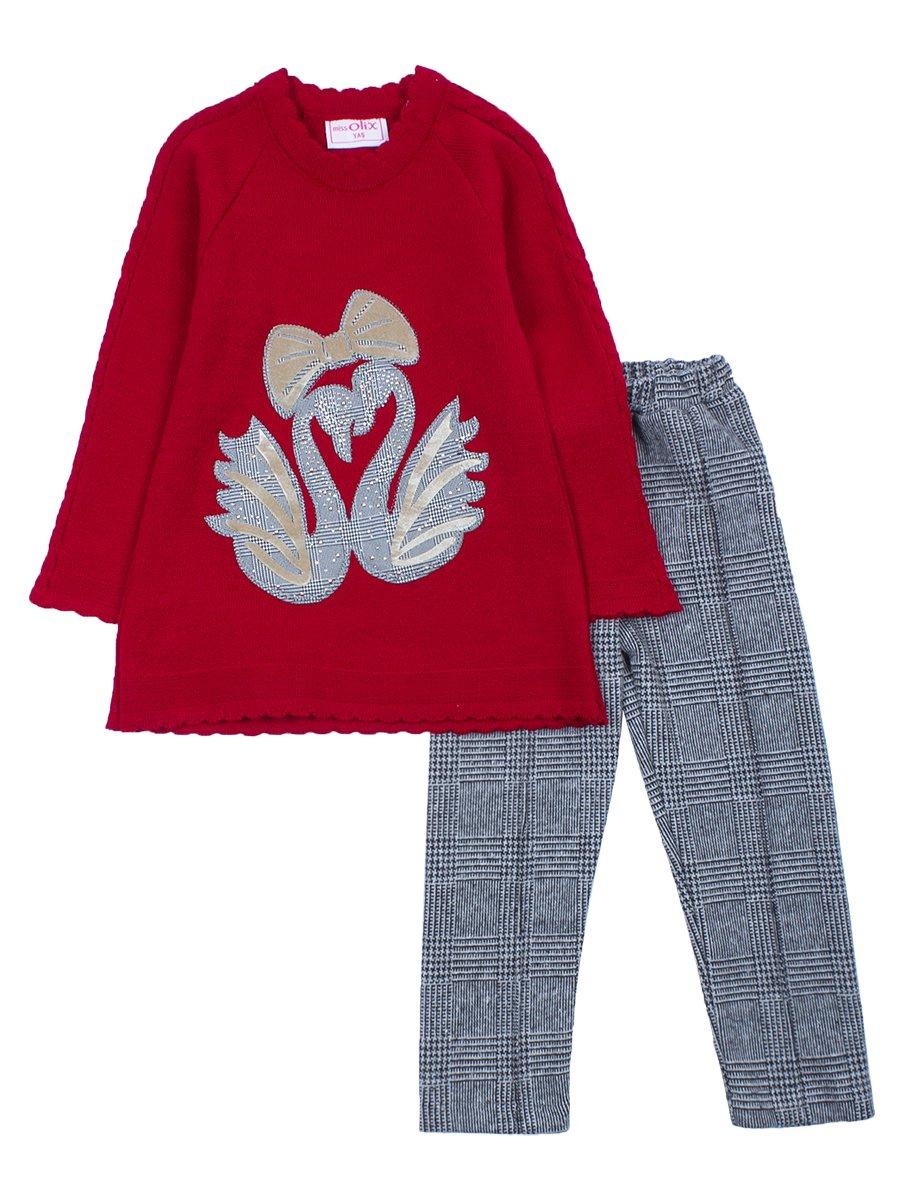 Комплект для девочки:вязаная туника и леггинсы, цвет: бордовый