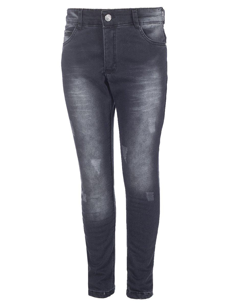 Брюки джинсовые для мальчика на махровой подкладке, цвет: черный