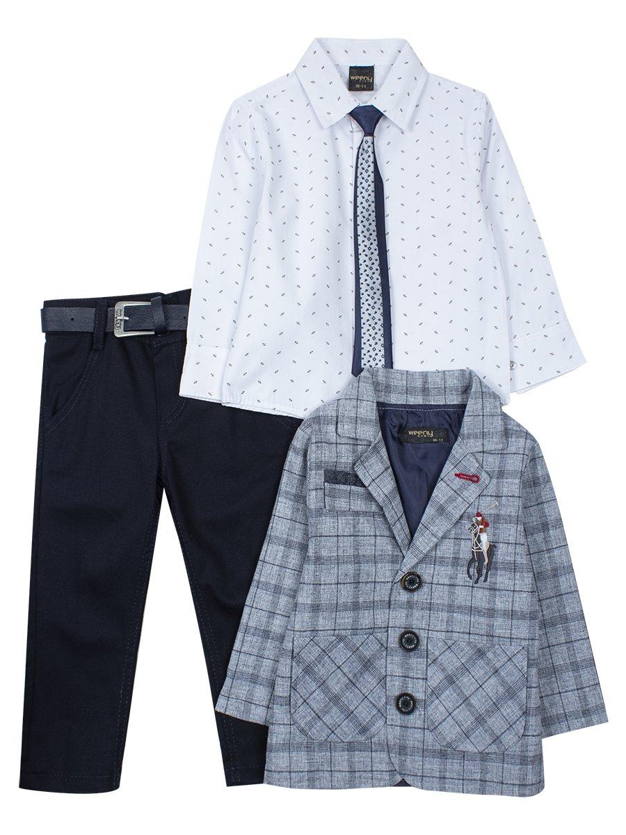 Комплект для мальчика: брюки с ремнем, рубашка, пиджак, галстук, цвет: серый