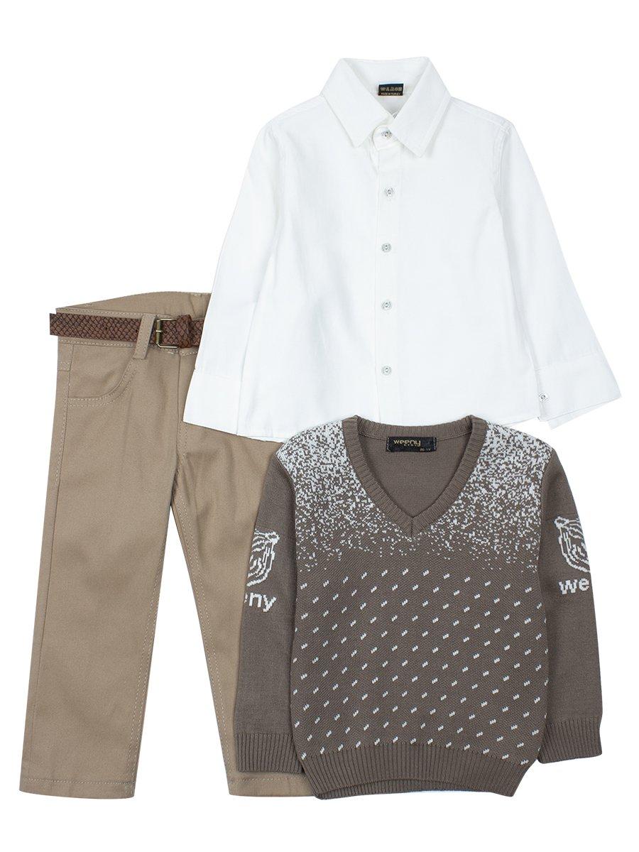 Комплект для мальчика: брюки с ремнем, рубашка, вязаный джемпер, цвет: коричневый