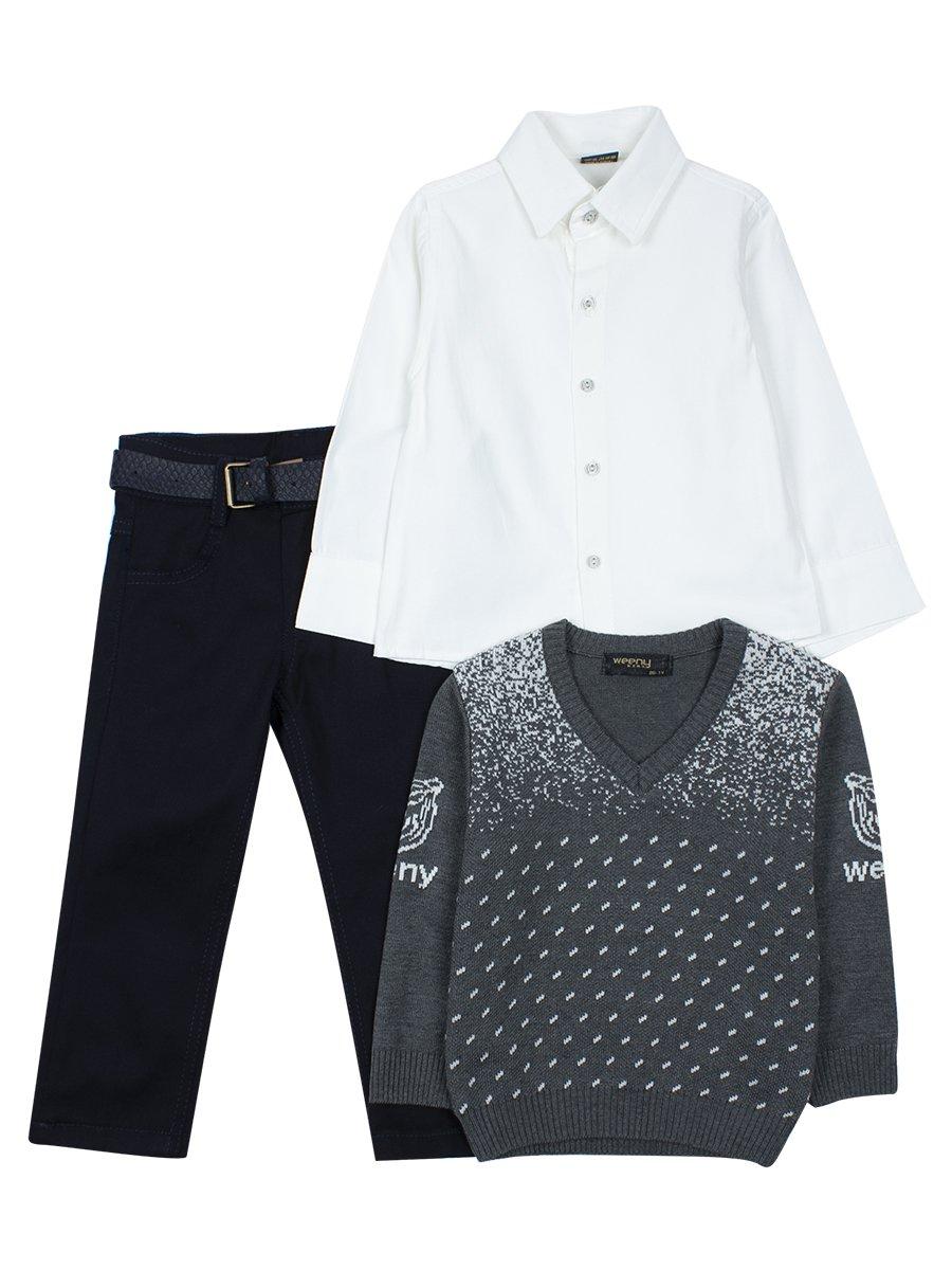 Комплект для мальчика: брюки с ремнем, рубашка, вязаный джемпер, цвет: серый