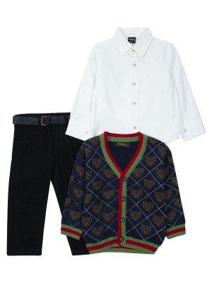 Комплект для мальчика:брюки с ремнем,рубашка,вязаный кардиган
