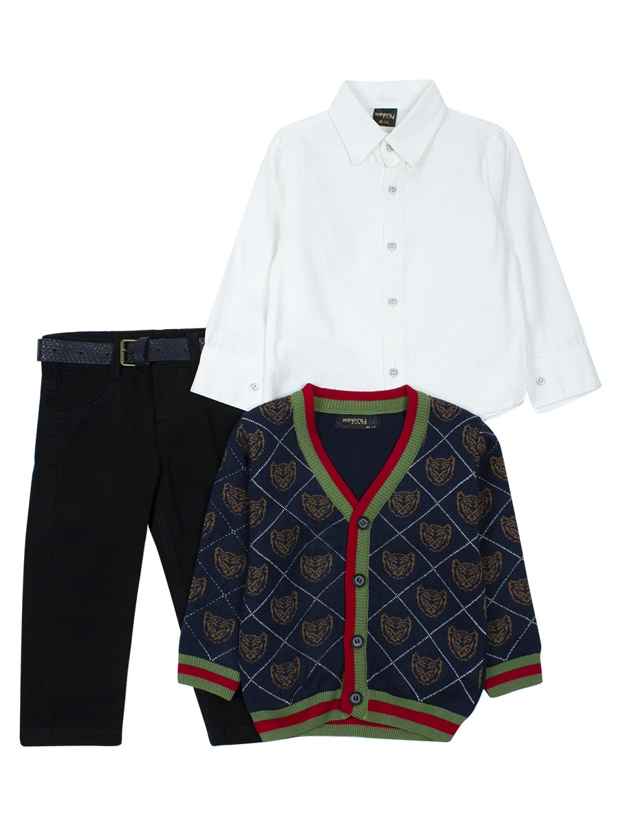 Комплект для мальчика: брюки с ремнем, рубашка, вязаный кардиган, цвет: темно-синий