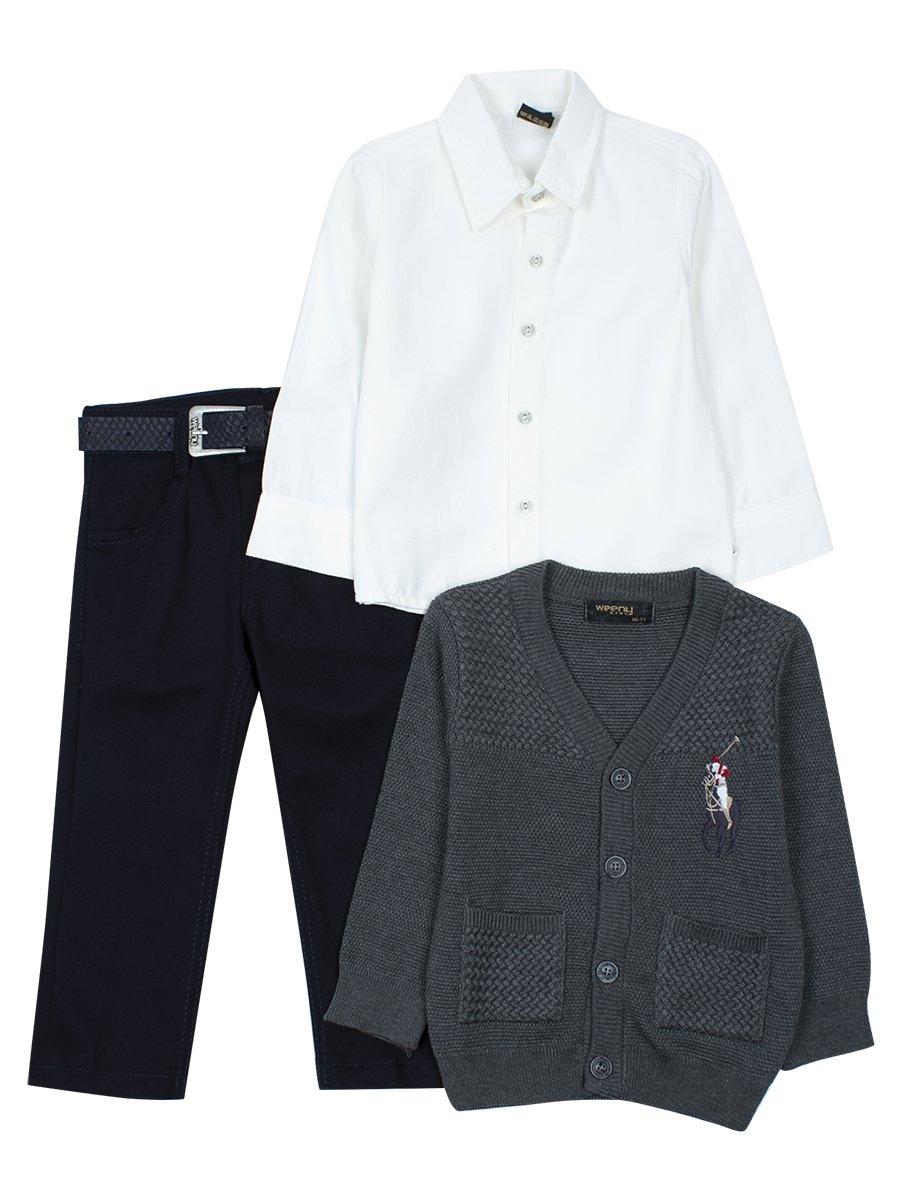 Комплект для мальчика: брюки с ремнем ,рубашка, вязаный кардиган, цвет: серый