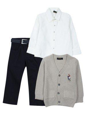 Комплект для мальчика: брюки с ремнем ,рубашка, вязаный кардиган