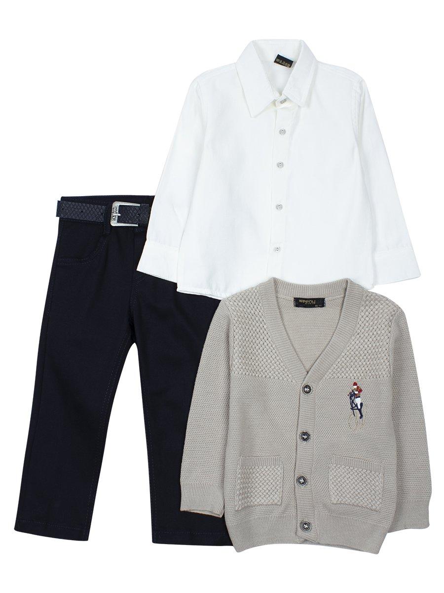 Комплект для мальчика: брюки с ремнем ,рубашка, вязаный кардиган, цвет: светло-серый