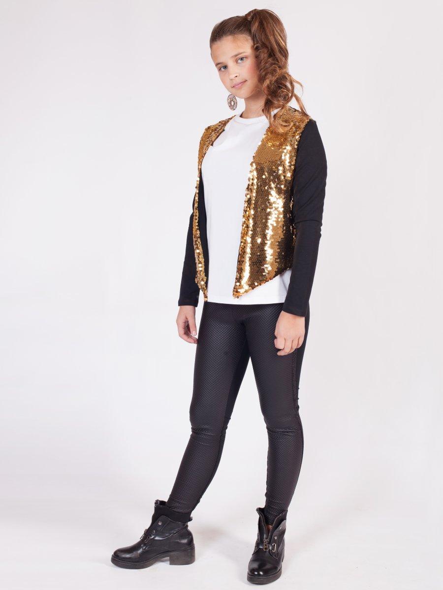 Комплект: жакет прямого силуэта и лосины, цвет: золотой