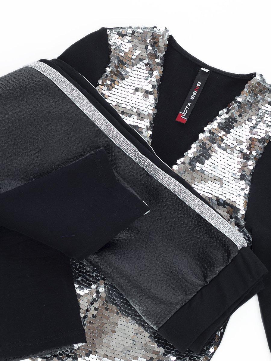 Комплект: жакет прямого силуэта и лосины, цвет: серебряный