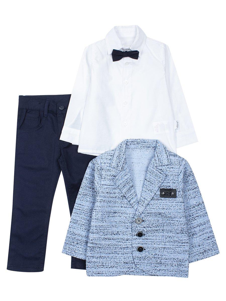Комплект для маличика: рубашка с бабочкой, брюки и пиджак, цвет: голубой