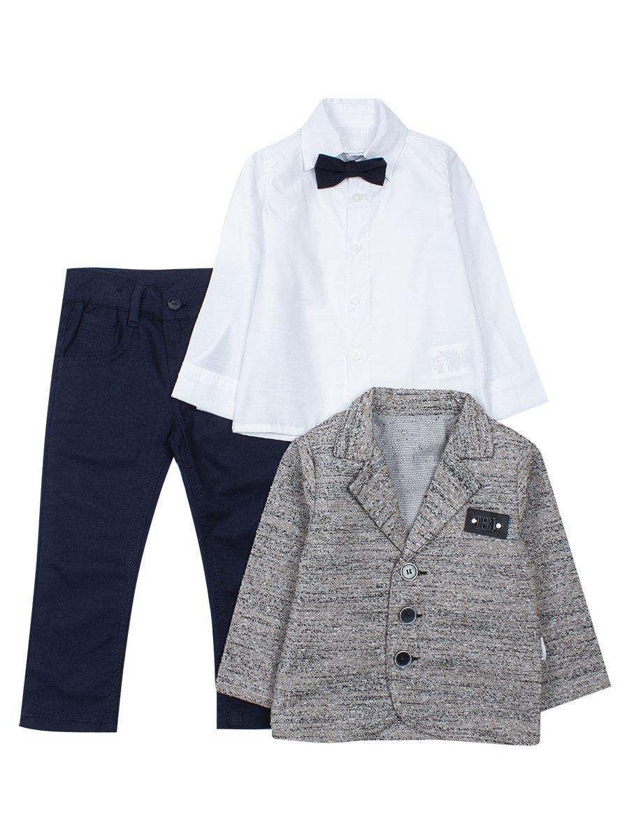 Комплект для маличика: рубашка с бабочкой, брюки и пиджак, цвет: бежевый