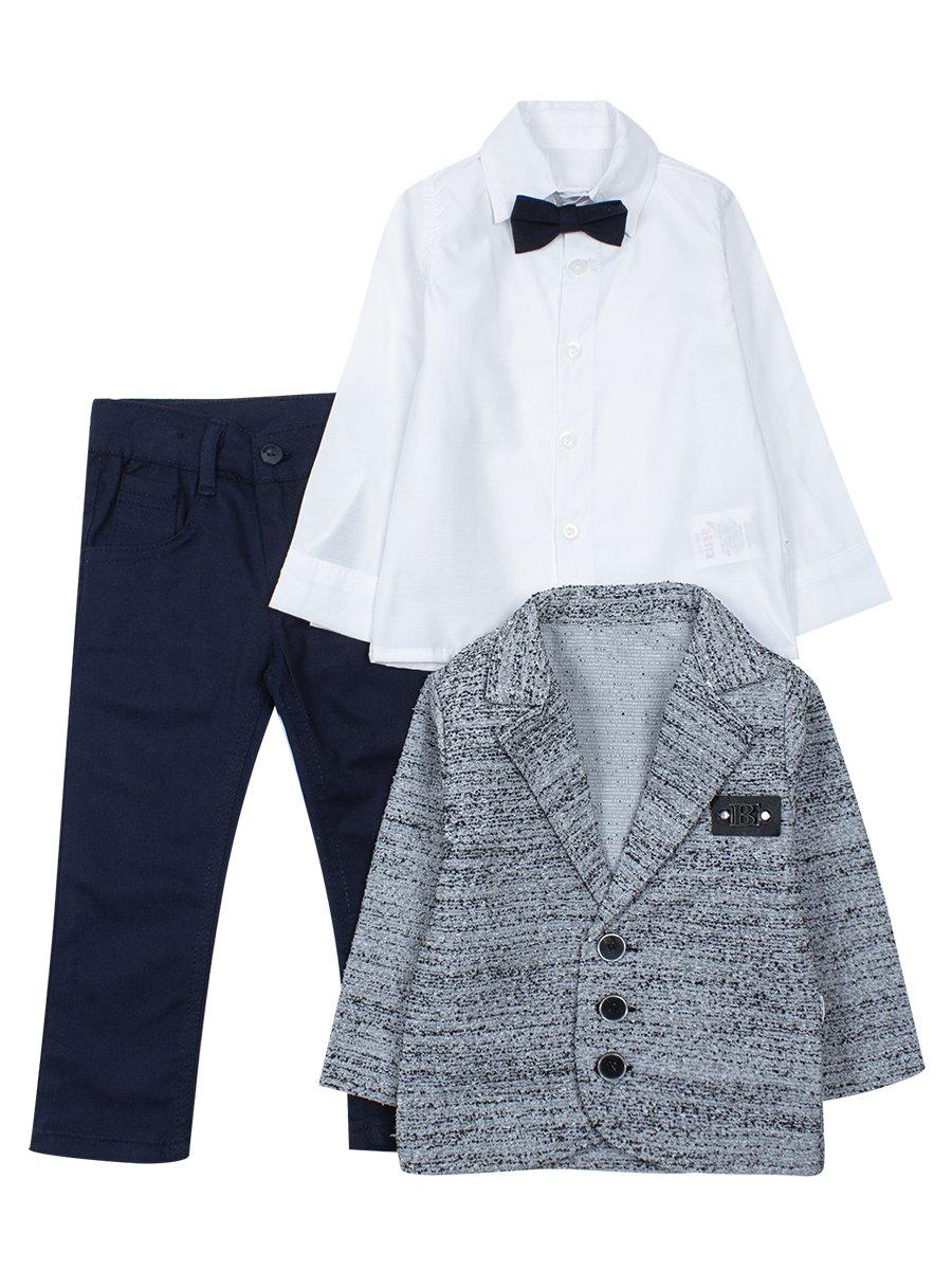 Комплект для мальчика: рубашка с бабочкой, брюки и пиджак, цвет: серый