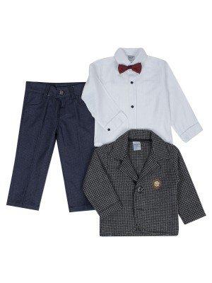 Комплект для мальчика: рубашка с бабочкой, брюки и пиджак