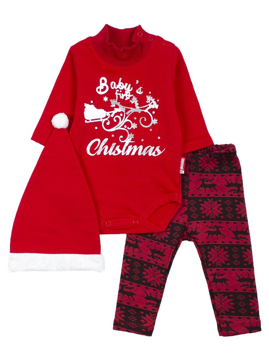 Комплект с начесом для девочки: боди, штанишки и шапочка, цвет: красный