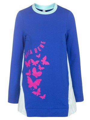 Туника для девочки из футера и сорочечной ткани