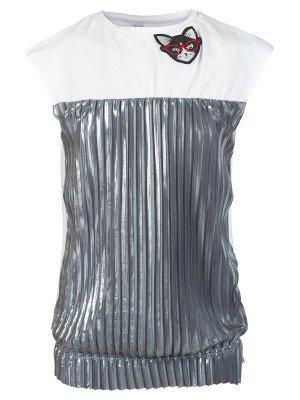 Блузка трикотажная из кулирки с лайкрой и плиссированного трикотажа