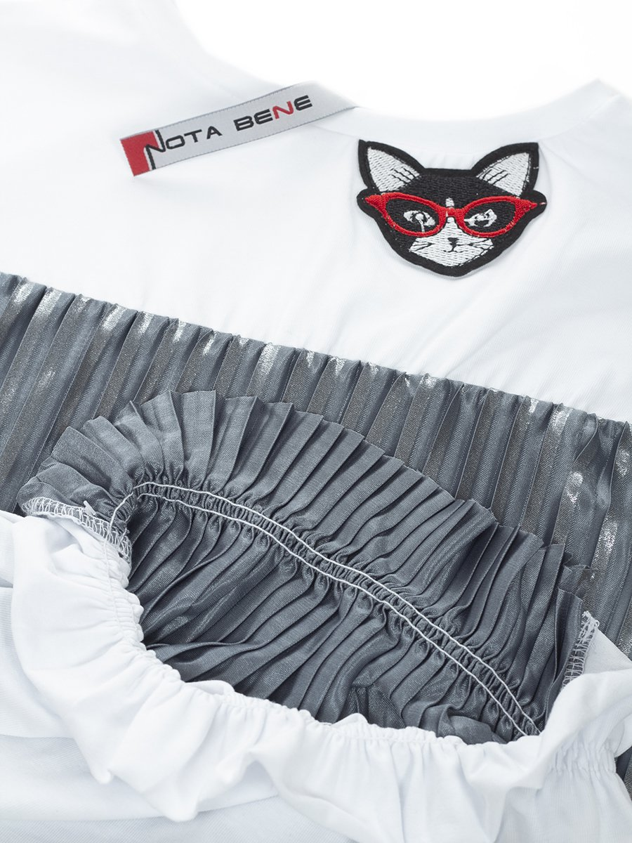 Блузка трикотажная из кулирки с лайкрой и плиссированного трикотажа, цвет: серебряный