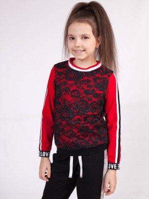 Свитшот для девочки из кулирки и кружевного полотна