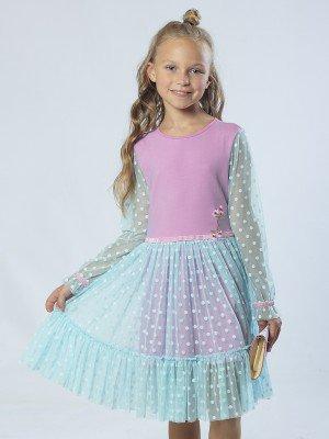 Платье из кулирки с сеткой