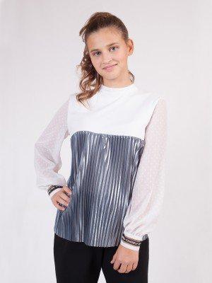Блузка трикотажная из кулирки с лайкрой, плиссированного трикотажа и шифона