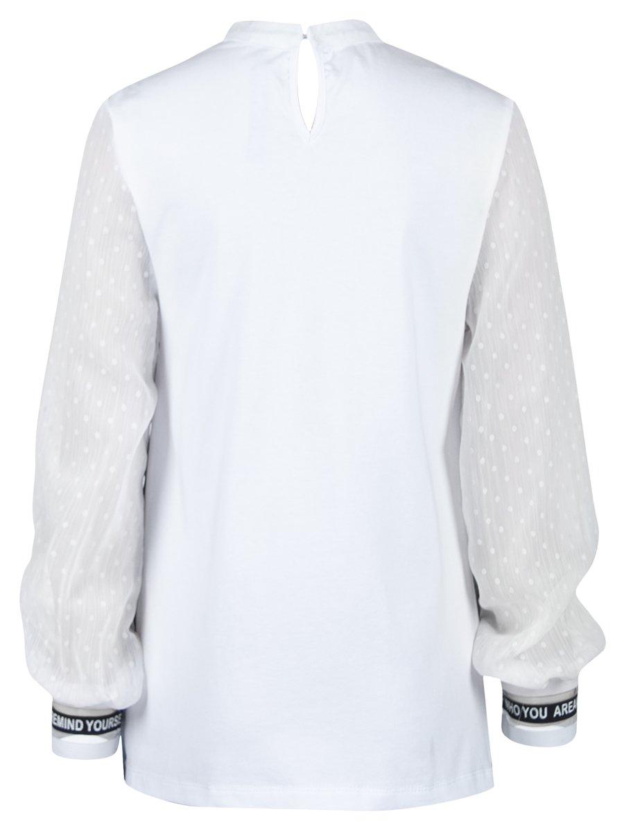 Блузка трикотажная из кулирки с лайкрой, плиссированного трикотажа и шифона, цвет: белый
